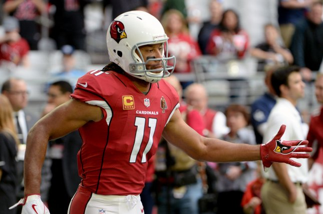 Arizona Cardinals' Larry Fitzgerald enters the field before the Cardinals play the Tennessee Titans at University of Phoenix Stadium in Glendale, Arizona December 10, 2017. Photo by Art Foxall/UPI