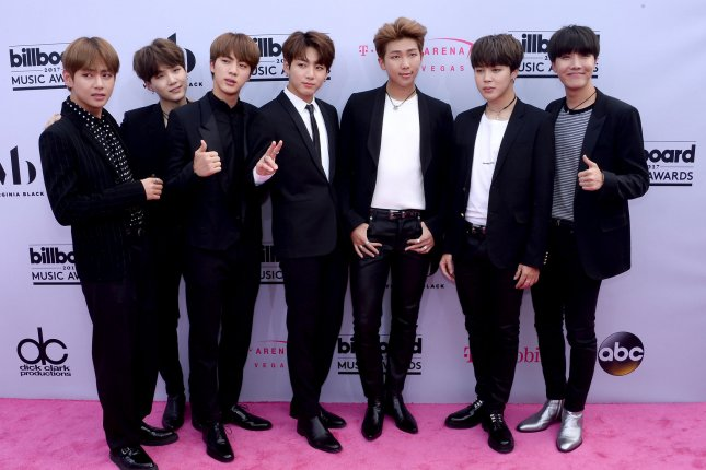 BTS sold out its Wembley Stadium and Stade de France concerts Friday morning. File Photo by Jim Ruymen/UPI