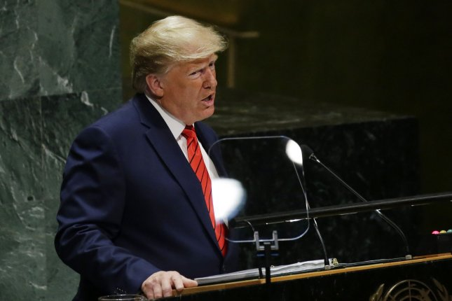 President Donald Trump speaks Tuesday at the 74th General Debate at the United Nations General Assembly in New York City. Photo by John Angelillo/UPI