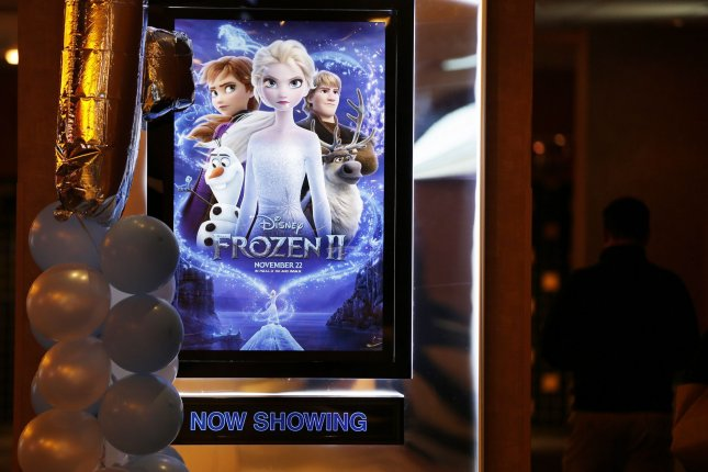 Posters for the Disney animated film Frozen II are on display in a movie theater in New York City on November 22. The film will be available for streaming on Disney+ Sunday. File Photo by John Angelillo/UPI