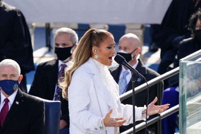 Singer Jennifer Lopez performs during the 59th presidential inauguration in Washington, D.C., on Wednesday. Photo by Kevin Dietsch/UPI