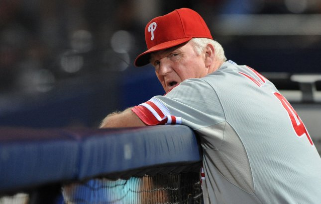 Philadelphia Phillies manager Charlie Manuel watches his team play the Atlanta Braves in the 7th inning of a MLB baseball game at Turner Field in Atlanta, Georgia, on September 27, 2011. The Phillies defeated the Braves 7-1. UPI Photo/Erik S. Lesser
