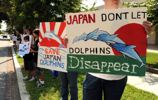 Demonstrators from PETA protest the killing of dolphins in front of the Japanese Embassy in Washington on September 1, 2011. UPI/Roger L. Wollenberg