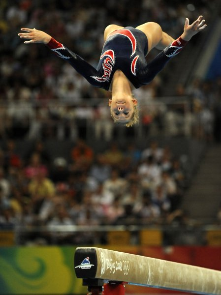 American gymnast Shawn Johnson, shown during a balance beam performance at the Summer Olympics Aug. 19, 2008. (UPI Photo/Mike Theiler)