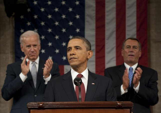 President Barack Obama speaks during his State of the Union address in fornt of a joint session of Congress on January 24, 2012 on Capitol Hill in Washington, DC. Speaker John Boehner (R) looks on. UPI/Saul Loeb/Pool