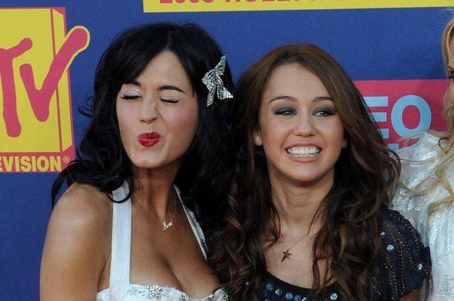 Katy Perry and Miley Cyrus. (UPI Photo/Jim Ruymen)