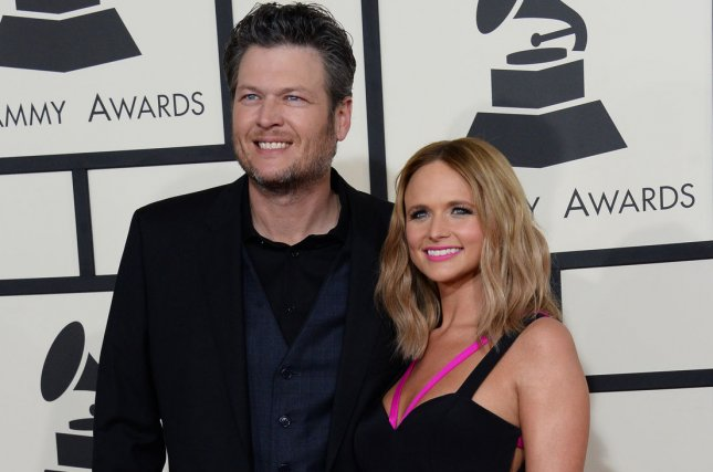 Blake Shelton (L) and Miranda Lambert at the Grammy Awards on February 8, 2015. The couple divorced in July 2015. File Photo by Jim Ruymen/UPI