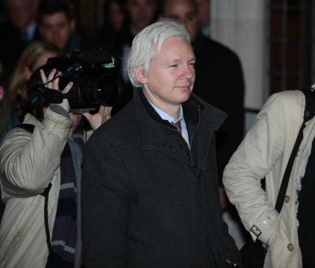 The internet link of Wikileaks co-founder Julian Assange was severed, the group announced Monday, leading to speculation that Assange had died. Photo by Hugo Philpott/UPI