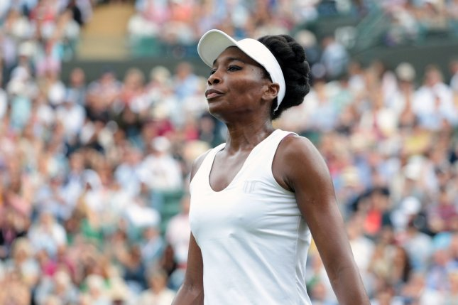 American Venus Williams during her match against Belgium's Elise Mertens on day one of the 2017 Wimbledon championships, London on July 3, 2017. Photo by Hugo Philpott/UPI
