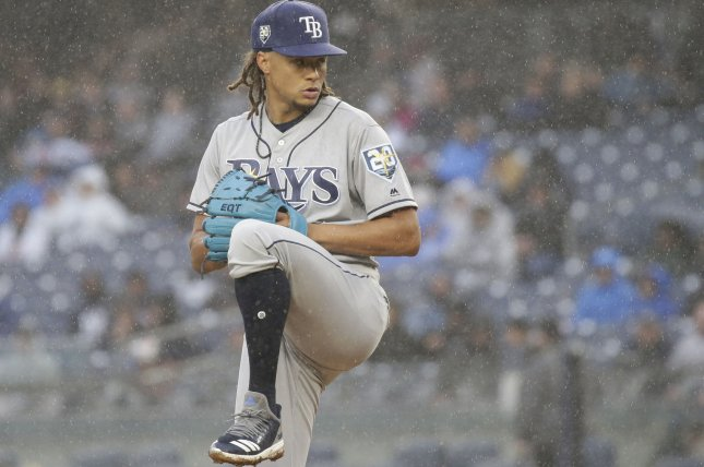 Tampa Bay Rays starter Chris Archer throws a pitch in the second inning against New York Yankees in the Yankees home opener on April 3 at Yankee Stadium in New York City. Photo by John Angelillo/UPI