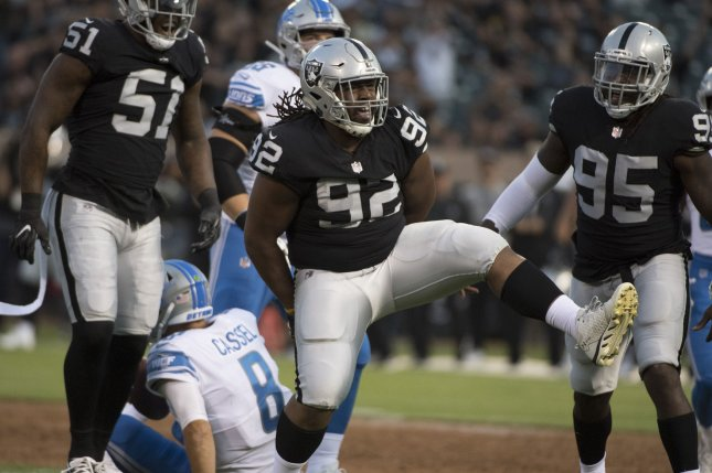 Former Las Vegas Raiders defensive lineman P.J. Hall (92) has recorded 49 total tackles and 1.5 sacks in 30 career games. File Photo by Terry Schmitt/UPI