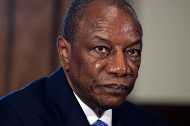 Guinean President Alpha Conde, shown during a meeting with President Barack Obama at the White House on April 15, 2015, won a third term to lead his country Saturday. Photo by Olivier Douliery/UPI