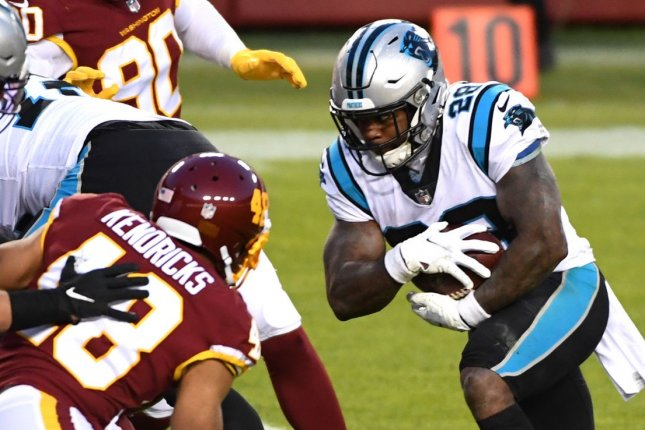 Former Carolina Panthers running back Mike Davis (R), who has agreed to a contract with the Atlanta Falcons, is expected to compete for the starting job in 2021. File Photo by Kevin Dietsch/UPI