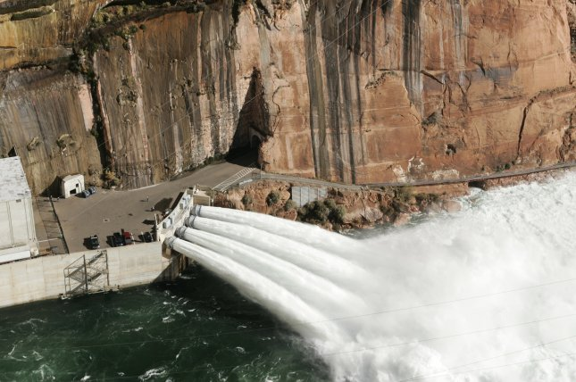 Colorado River water is released at the Glen Canyon Dam in 2004. File Photo by Will Powers/UPI