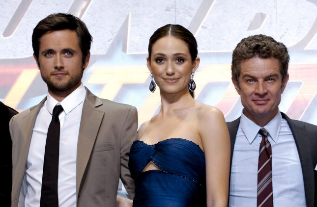 (L-R) Actor Justin Chatwin, actress Emmy Rossum, actor James Marsters pose for camera during the world premiere for the film Dragonball evolution at Nippon Budokan, in Tokyo, Japan, on March 10, 2009. (UPI Photo/Keizo Mori)