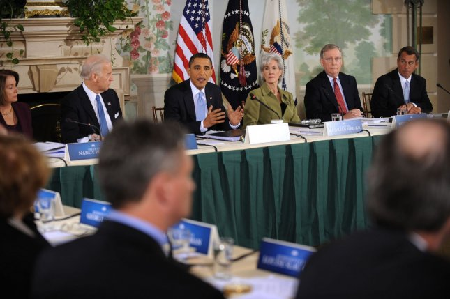 U.S. President Barack Obama (C) speaks at a bipartisan meeting with members of Congress to discuss U.S. health reform. Many cautiously optimistic the slowdown in healthcare spending is here to stay. UPI/Shawn Thew/Pool