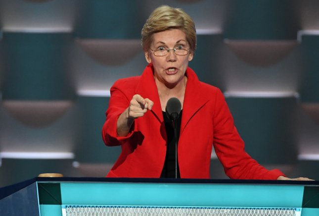 Senator Elizabeth Warren of Massachusetts speaks on day one of the Democratic National Convention at the Wells Fargo Center in Philadelphia, Pennsylvania on Monday, July 25, 2016. The four-day convention starts on Monday, and is expected to nominate Hillary Clinton for president of the United States. Photo by Pat Benic/UPI