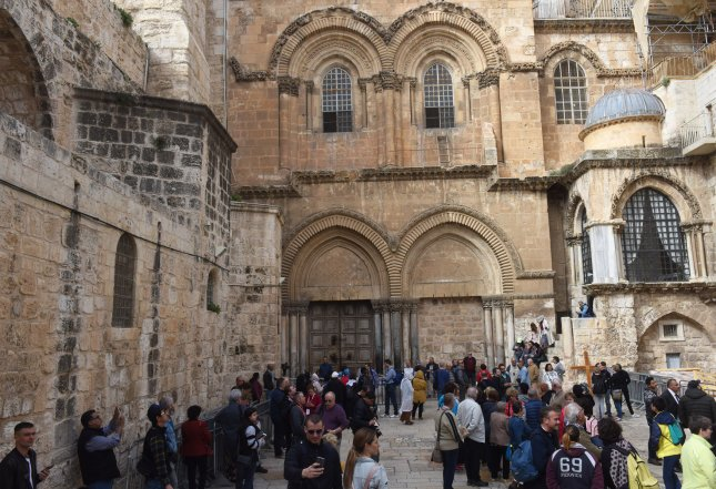 The Church of the Holy Sepulchre in Jerusalem's Old City reopened Wednesday after Christian leaders closed it in protest of proposed tax and property bills targeting religious sites. Photo by Debbie Hill/UPI