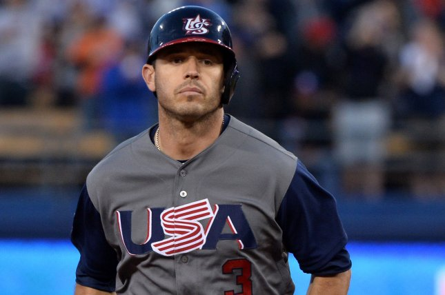 U.S. second baseman Ian Kinsler rounds the bases after hitting a two-run homer in the World Baseball Classic final in 2017 at Dodger Stadium in Los Angeles. File Photo by Jim Ruymen/UPI