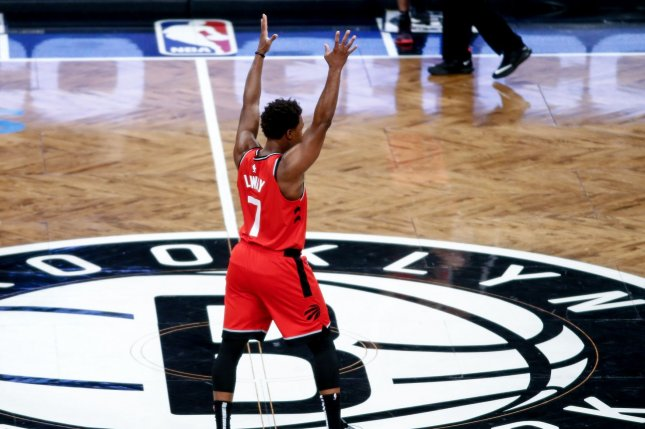 Toronto Raptors guard Kyle Lowry scored 23 points, four rebounds and nine assists in the Raptors 123-109 Game 3 victory in Oakland over the Golden State Warriors. File Photo by Nicole Sweet/UPI