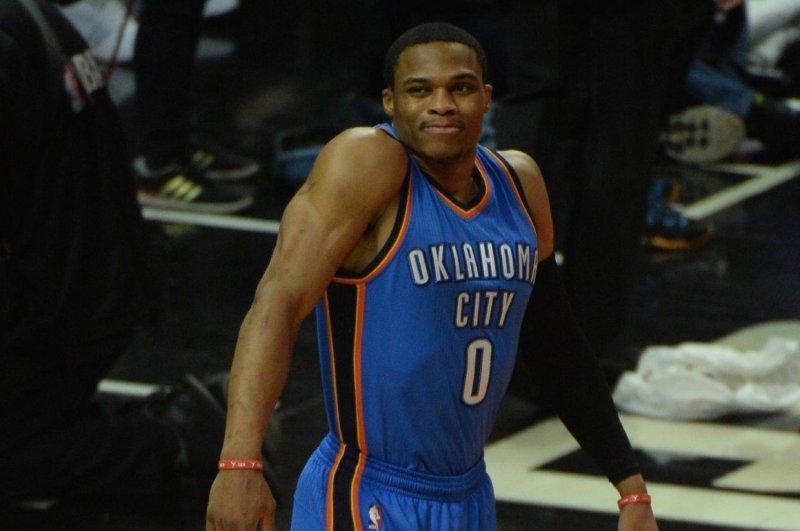 Former NBA MVP Russell Westbrook played his first 11 NBA seasons with the Oklahoma City Thunder. File Photo by Jon SooHoo/ UPI.