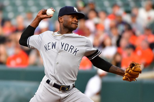 New York Yankees starting pitcher Domingo German leads the American League with 13 wins this season. File Photo by David Tulis/UPI