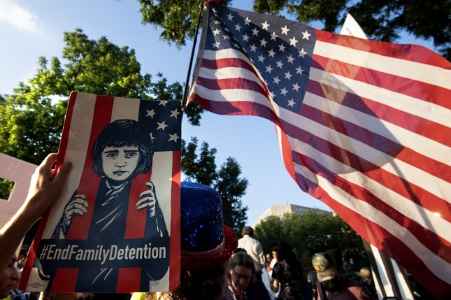 Protesters oppose detention camps on the U.S.-Mexico border during a July 12 rally near the White House. File Photo by Pat Benic/UPI