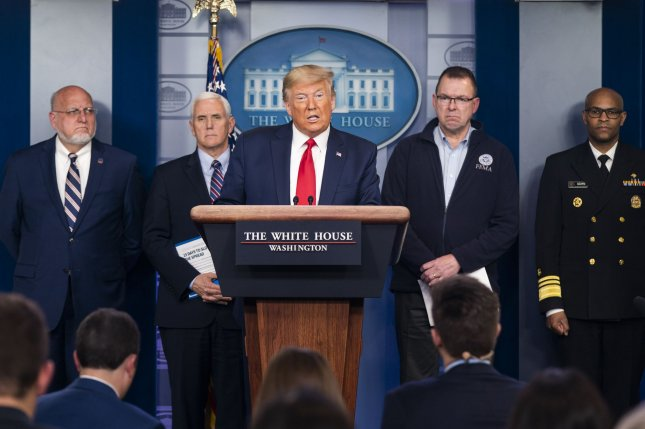 President Donald Trump announced Sunday that he has activated the National Guard for California, New York and Washington during a briefing of the White House Coronavirus Task Force. Photo by Jim Lo Scalzo/UPI
