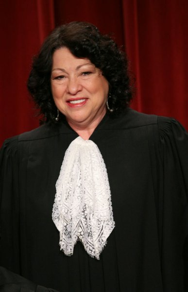 Sonia Sotomayor, the newest member of the court, is seen after the Supreme Court Justices of the United States posed for their official family group photo and then allowed members of the media to take photos afterward on September 29, 2009, at the Supreme Court in Washington. UPI/Gary Fabiano/Pool