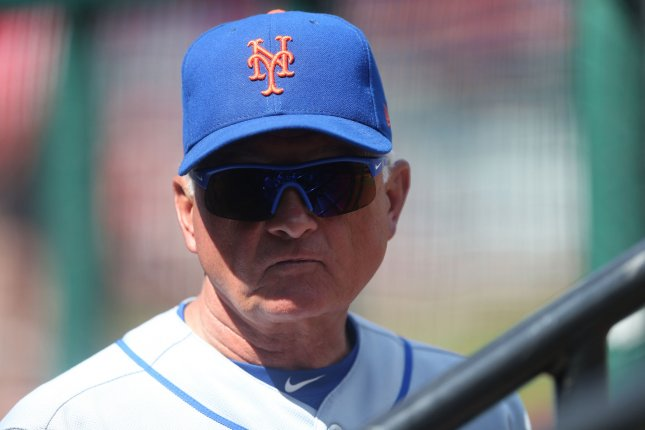 New York Mets manager Terry Collins watches his team during a game against the St. Louis Cardinals in July. Photo by Bill Greenblatt/UPI