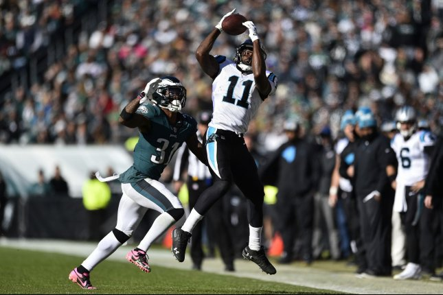 Carolina Panthers receiver Torrey Smith makes a leaping catch during a game against the Philadelphia Eagles at Lincoln Financial Field on Oct. 21, 2018. Photo by Derik Hamilton/UPI