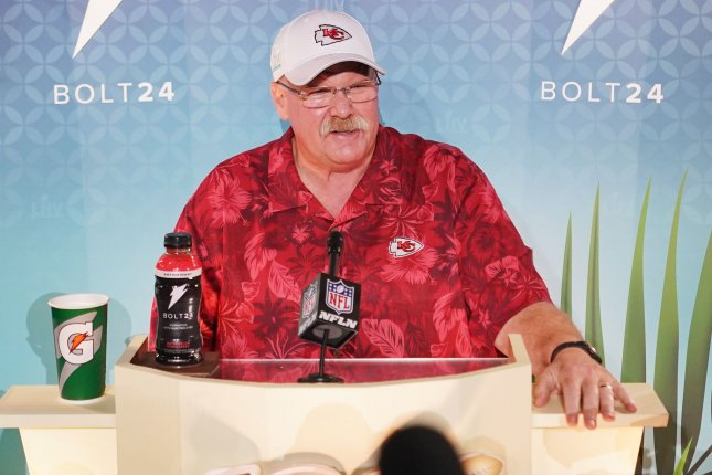 Kansas City Chiefs coach Andy Reid said his team got good work in and played fast at Thursday's practice session in Davie, Fla., ahead of Super Bowl LIV Sunday in Miami Gardens, Fla. Photo by Kevin Dietsch/UPI