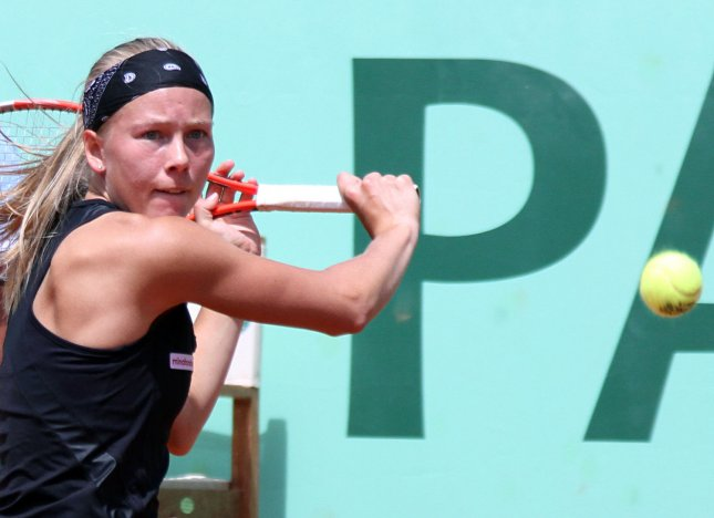 Johanna Larsson, shown at the 2011 French Open, was among first-rouind winners Monday at the Collector Swedish Open. UPI/David Silpa