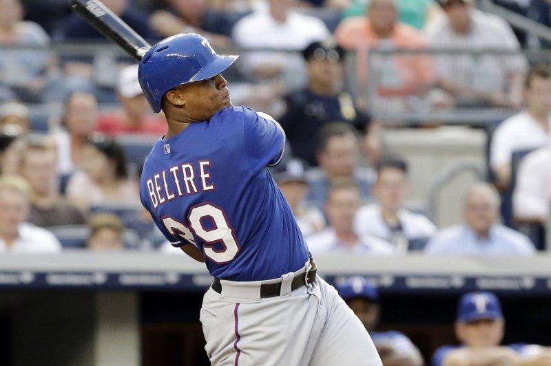 Texas Rangers' Adrian Beltre. UPI/John Angelillo