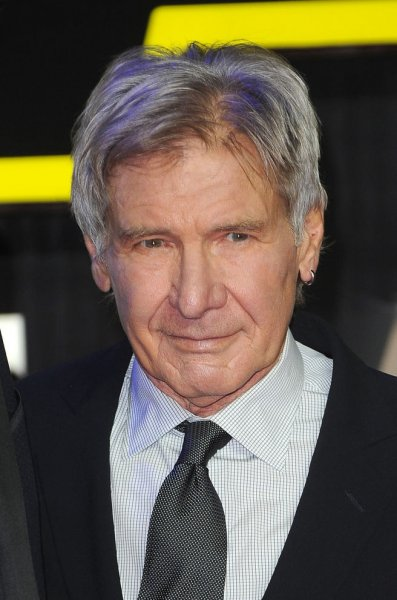 """American actor Harrison Ford attends the European premiere of """"Star Wars: The Force Awakens"""" in London on December 16, 2015. Photo by Paul Treadway/ UPI"""