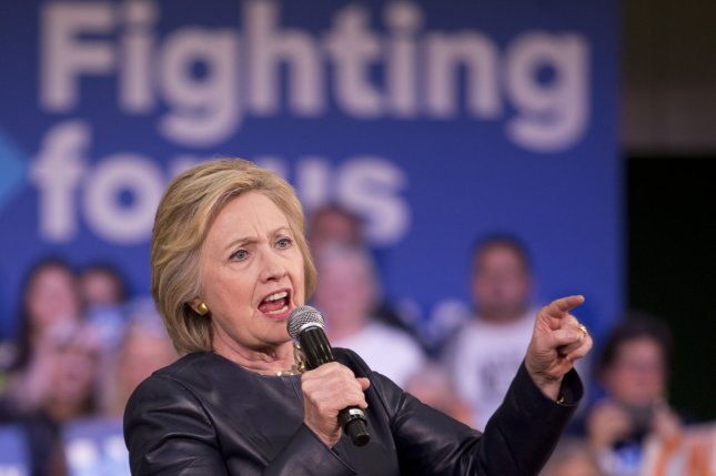 Democratic presidential front-runner Hillary Clinton speaks to supporters in Oakland, Calif., last week. On Wednesday, Clinton criticized presumptive Republican nominee Donald Trump for failing to release his tax returns. Photo by Khaled Sayed/UPI