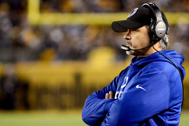 Indianapolis Colts head coach Chuck Pagano watches from the sidelines in the second quarter of the Pittsburgh Steelers 45-10 victory at Heinz Field in Pittsburgh on December 6, 2015. Photo by Archie Carpenter/UPI