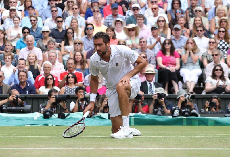 Marin Cilic reacts in the men's singles final vs. Rgoer Federer at Wimbledon last month. Photo by Hugo Philpott/UPI