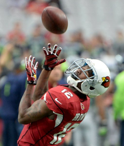 Arizona Cardinals receiver John Brown is among the top names who will be forced to sit with an injury this weekend. Photo by Art Foxall/UPI