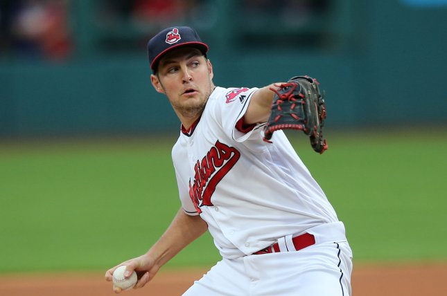 Cleveland Indians Trevor Bauer pitches during the first inning of a game against the Boston Red Sox at Progressive Field in Cleveland, Ohio on August 24, 2017. File photo by Aaron Josefczyk/UPI