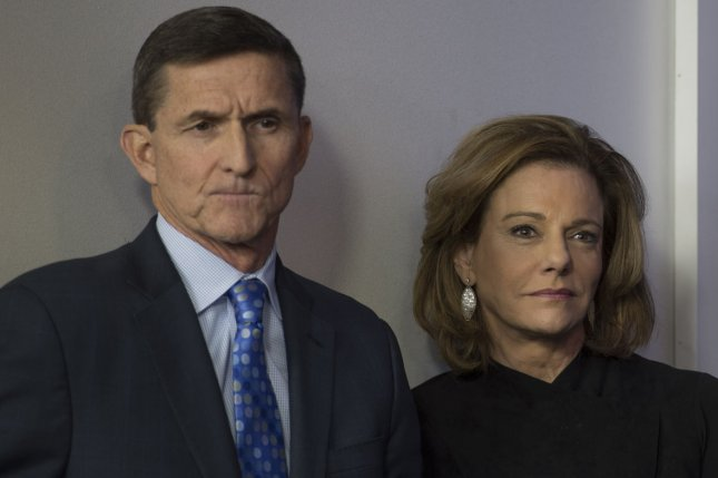 National security adviser Mike Flynn and deputy national security adviser K.T. McFarland listen to press secretary Sean Spicer during the daily press briefing at the White House on February 1, 2016. McFarland later departed from that position and she withdrew her nomination as Singapore ambassador Friday. File Photo by Molly Riley/UPI