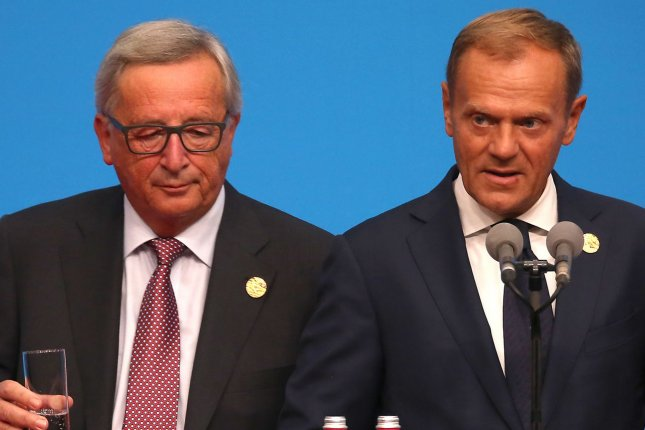 European Union President Jean-Claude Juncker (L) and European Council President Donald Tusk. Juncker said Friday that European partners were united in their will to keep the Iranian nuclear agreement in place. File Photo by Stephen Shaver/UPI