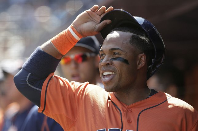 Former Houston Astros IF Luis Valbuena died in a car accident on Thursday in Venezuela. File photo by John Angelillo/UPI