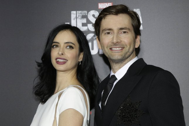David Tennant (R), pictured with Krysten Ritter, plays Crowley in Good Omens. File Photo by John Angelillo/UPI