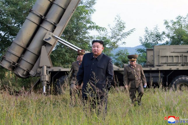 Kim Jong Un (C) could visit South Korea in November, multiple Seoul sources said Tuesday and Wednesday. Photo by KCNA/UPI