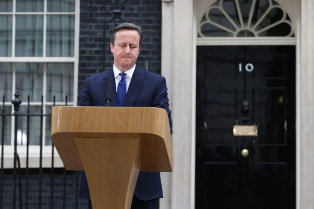 Former British Prime Minister David Cameron, pictured at No.10 Downing Street in London in 2015, said breaking an international treaty is the very, very last thing you should contemplate. File Photo by Hugo Philpott/UPI