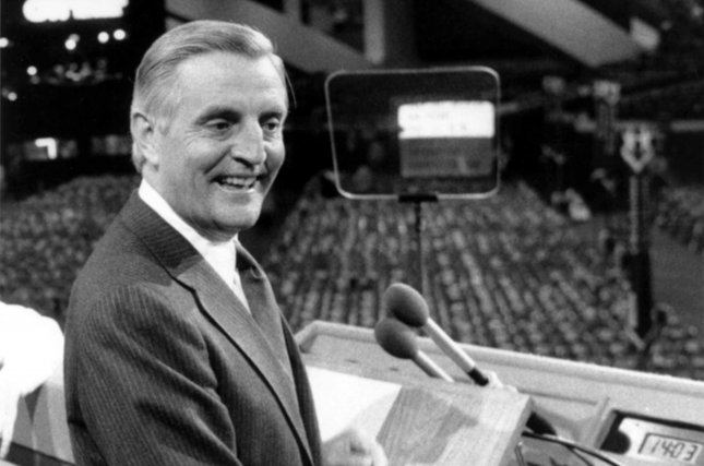 Democratic presidential nominee Walter Mondale stands at the podium before the 1984 Democratic National Convention in San Francisco on July 19, 1984. UPI File Photo
