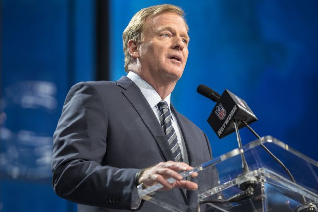 NFL commissioner Roger Goodell, who is fully vaccinated, will attend the 2021 NFL Draft from Thursday to Saturday in Cleveland. File Photo by Sergio Flores/UPI