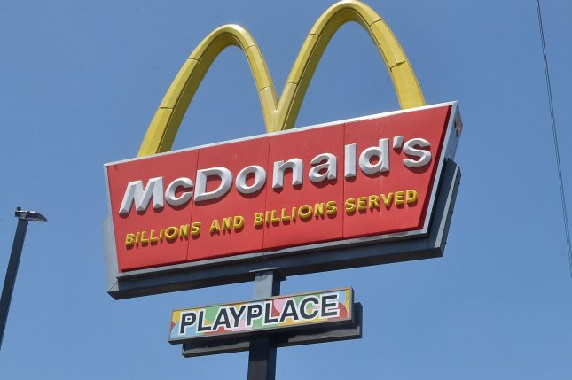 Image of a McDonald's sign in Los Angeles on August 7, 2020. McDonald's said Friday that data was hacked from computers in the United States, South Korea and Taiwan. Photo by Jim Ruymen/UPI