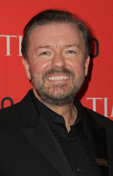 Ricky Gervais arrives at the TIME 100 Gala at Jazz at Lincoln Center on April 23, 2013 in New York City. UPI/Monika Graff